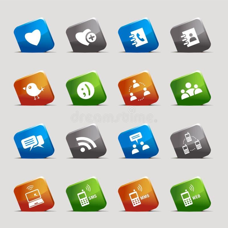 Cuadrados del corte - iconos sociales de los media stock de ilustración