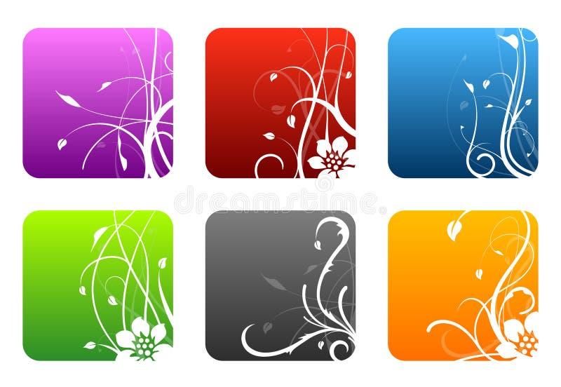 Cuadrados del diseño floral ilustración del vector