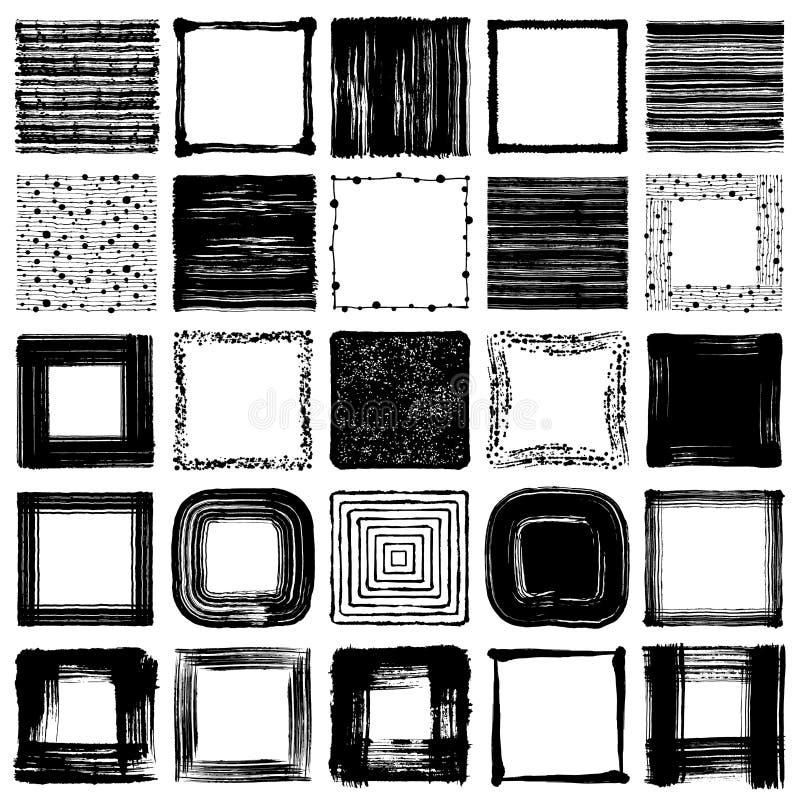 Cuadrados del movimiento del cepillo cuadrados dibujados mano libre illustration