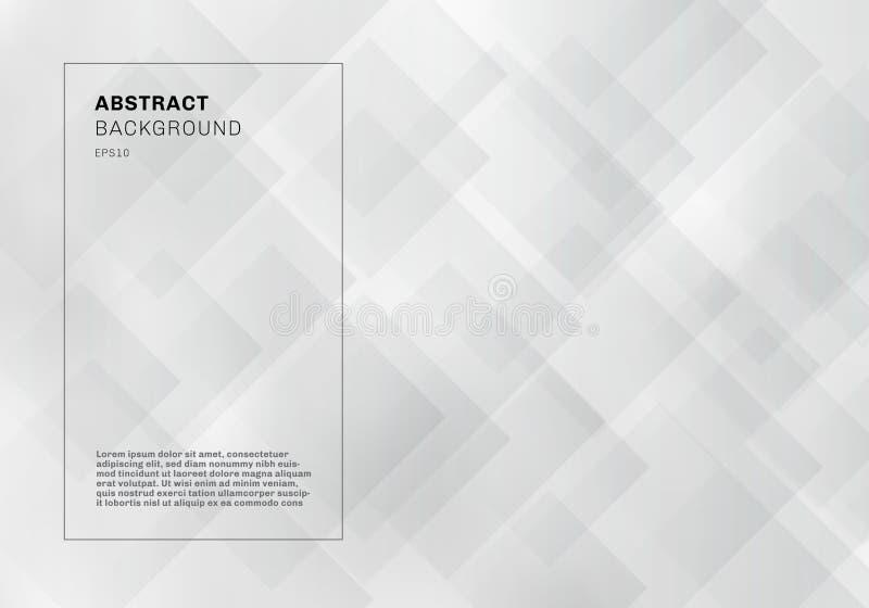 Cuadrados geométricos elegantes del extracto que coinciden el estilo blanco y gris de la tecnología del fondo del color libre illustration