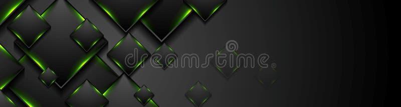Cuadrados negros de la tecnología con la bandera ligera de neón que brilla intensamente verde stock de ilustración
