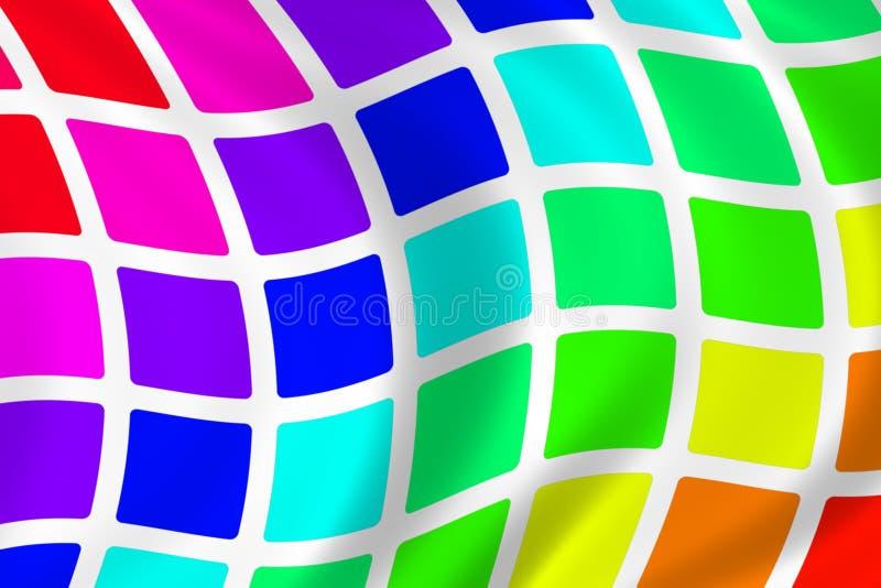 Cuadrados ondulados del arco iris stock de ilustración