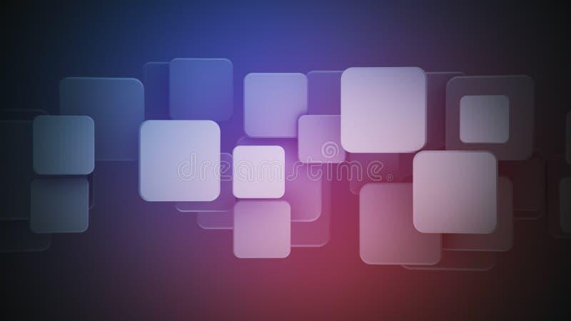 Cuadrados púrpuras traslapados 3D rendir el fondo abstracto ilustración del vector