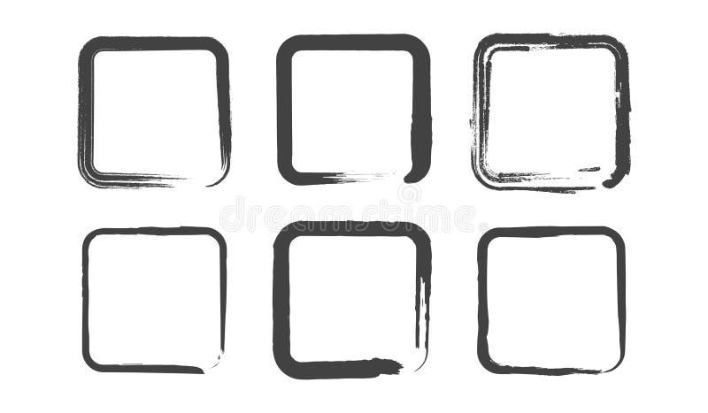 Cuadrados redondos del Grunge fijados Ejemplo de la pintura del cepillo ilustración del vector