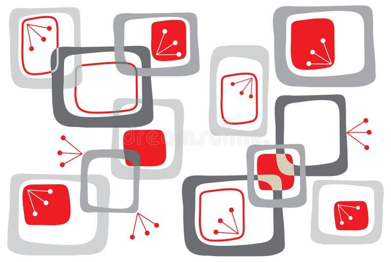 Cuadrados retros del rojo de cereza ilustración del vector