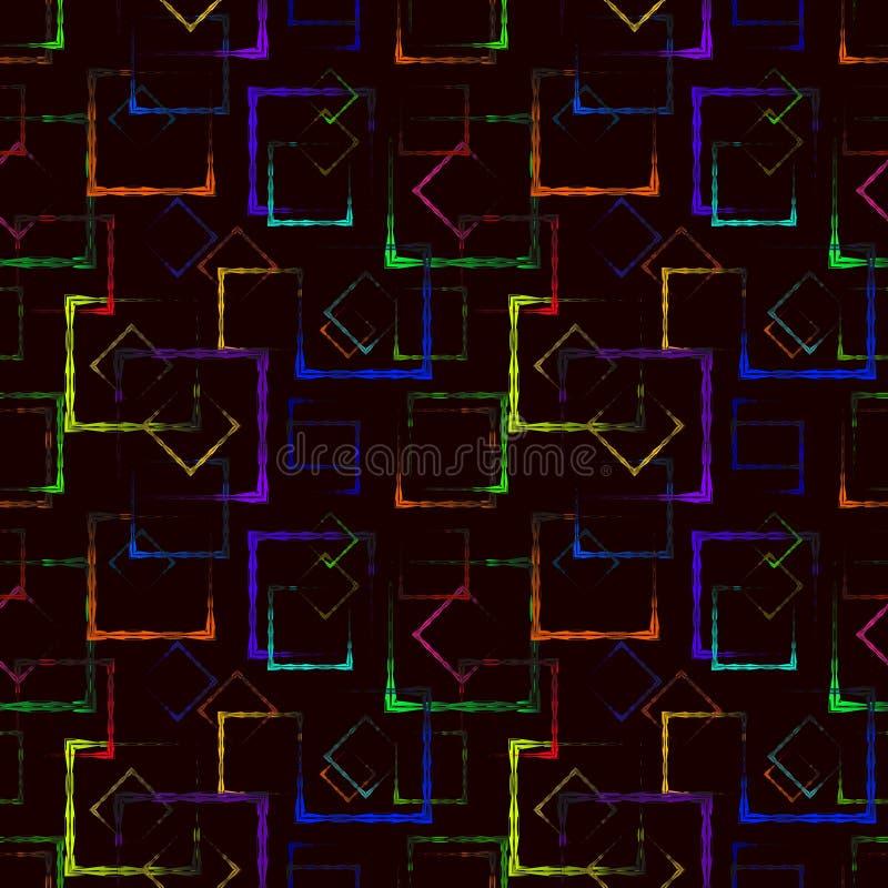 Cuadrados tallados coloreados brillantes y Rhombus de neón para el fondo o el modelo abstracto de la mostaza stock de ilustración