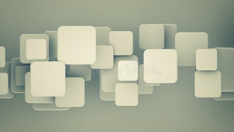 Cuadrados traslapados 3D rendir el ejemplo libre illustration