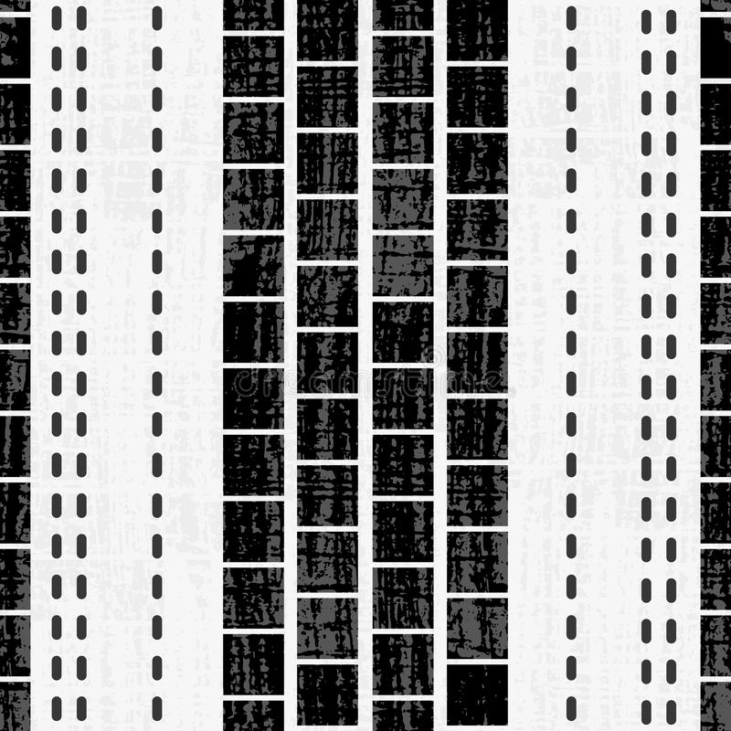 Cuadrados y diseño blancos y negros geométricos sofisticados de la puntada con textura del grunge en el grunge sutil texturizado stock de ilustración