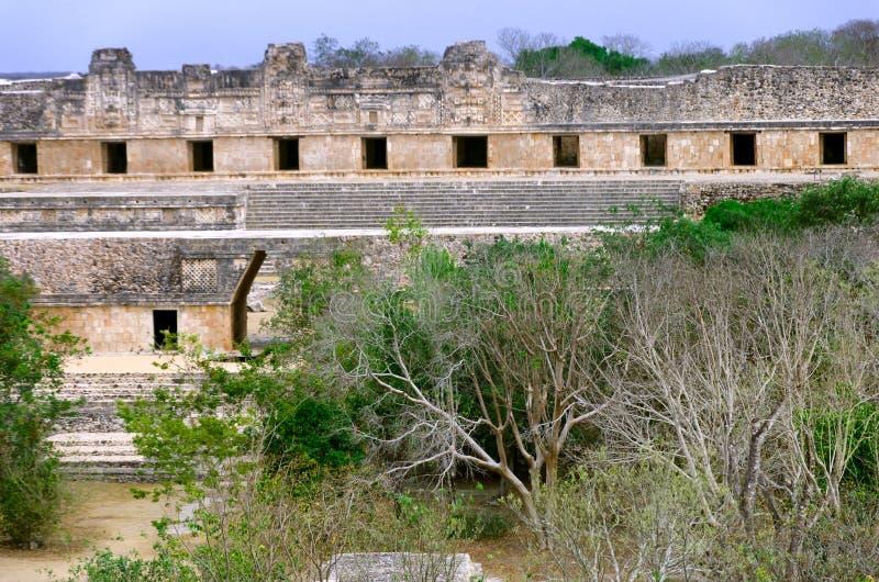 Cuadrilátero Front View del convento de monjas en Uxmal fotos de archivo libres de regalías