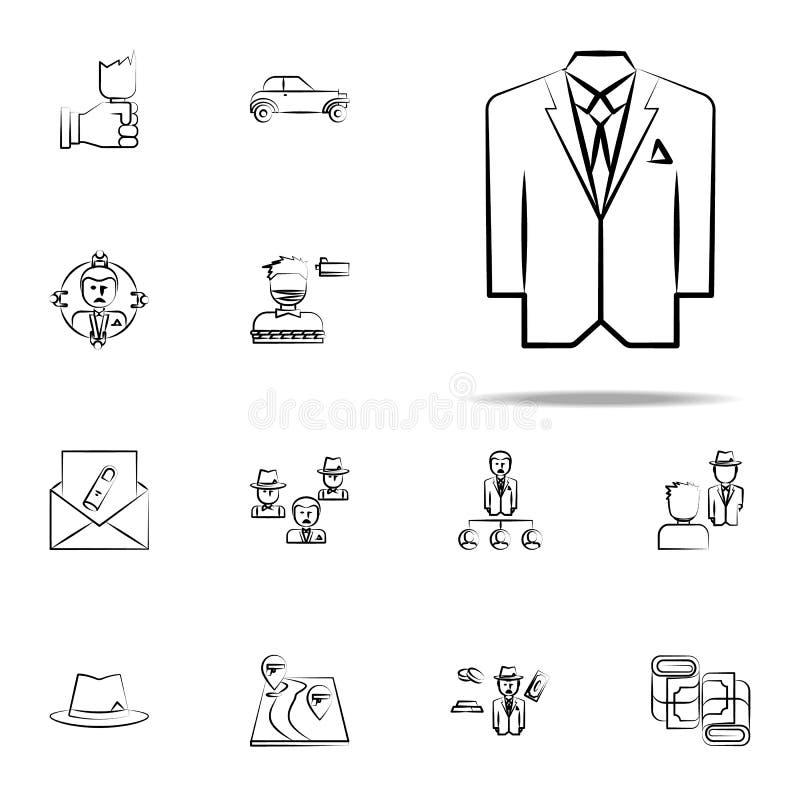 cuadrilla, criminal, icono del traje sistema universal de los iconos de la mafia para la web y el móvil ilustración del vector