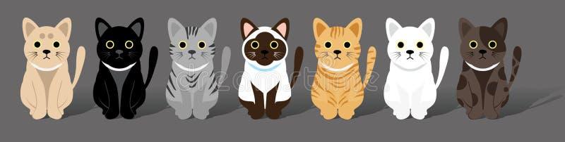 Cuadrilla linda de los gatos stock de ilustración