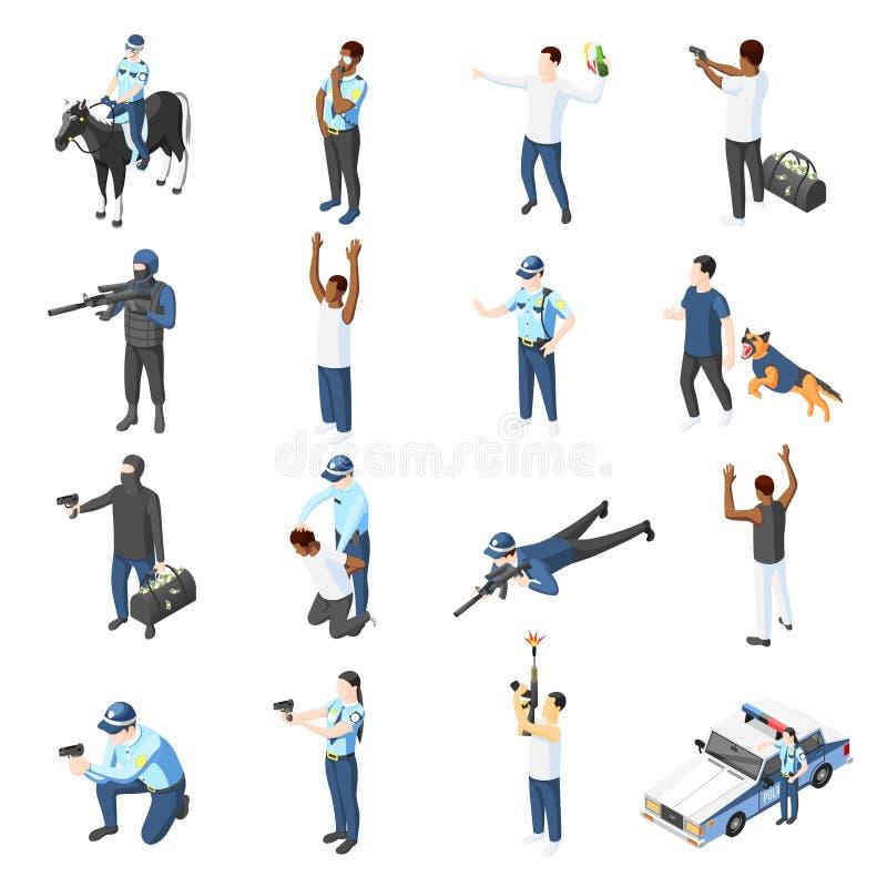 Cuadrillas e iconos isométricos de la policía stock de ilustración