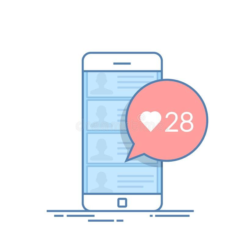 Cuadro de diálogo en la charla móvil que ofrece evaluar el mensaje o las noticias del usuario Número de gustos Línea fina vector stock de ilustración