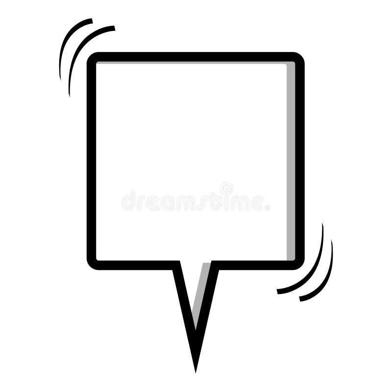 cuadro de diálogo monocromático de la forma del cuadrado de la silueta stock de ilustración