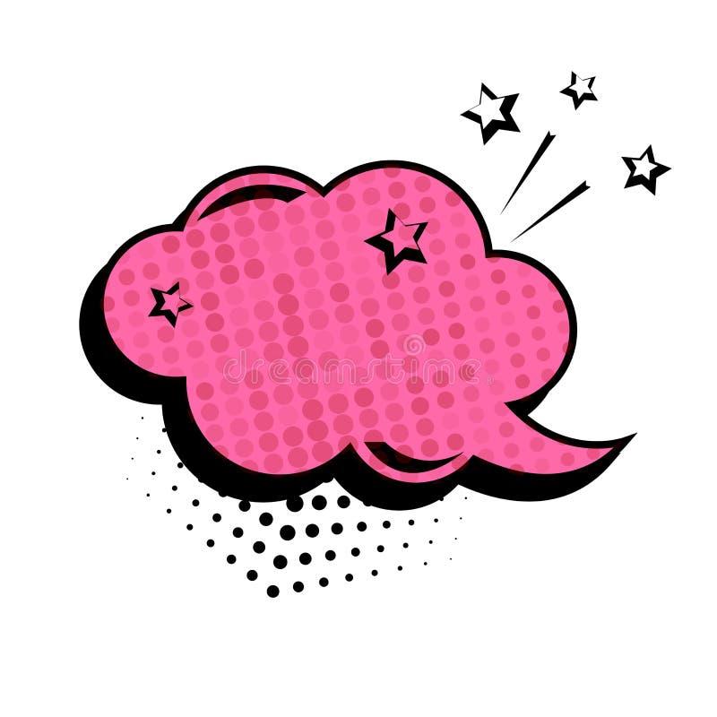 Cuadro de diálogo rosado, sistema de la bandera Nube vacía coloreada con los puntos y las estrellas Efectos sonoros c?micos en es stock de ilustración