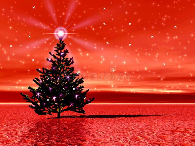 Cuadro de la Navidad con el árbol de navidad libre illustration