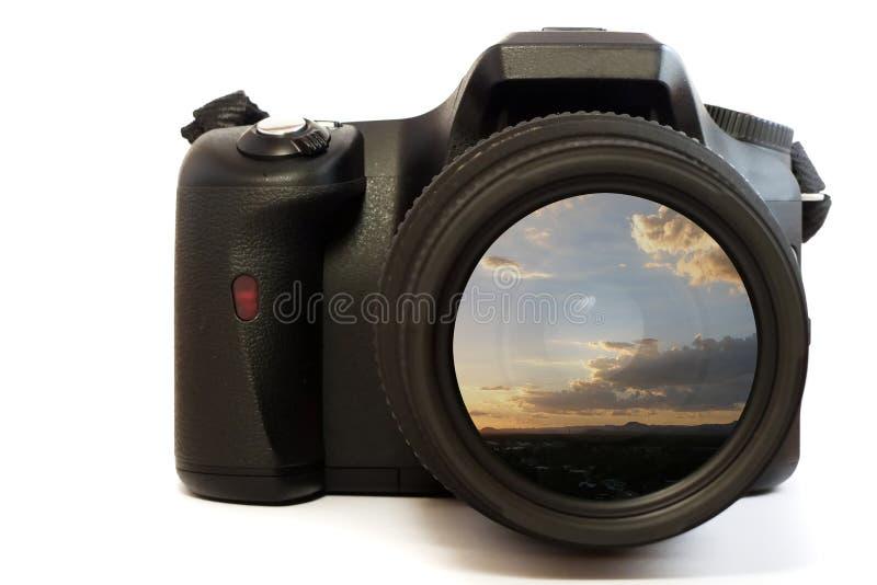 Cuadro de la puesta del sol de la lente de cámara fotos de archivo libres de regalías