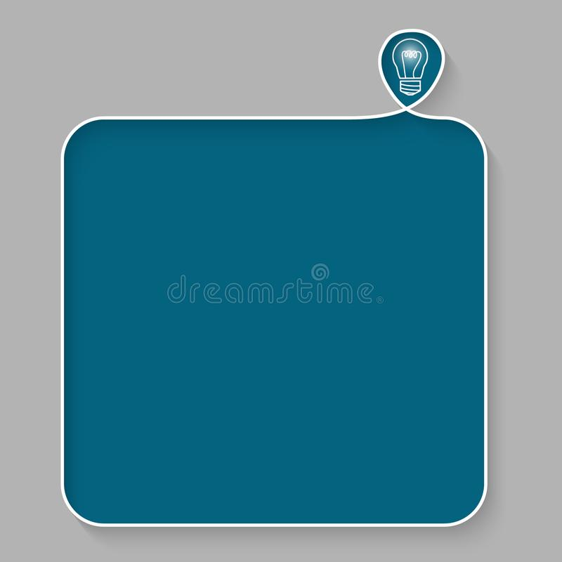Cuadro de texto blanco para el terraplén su texto con símbolo de la idea stock de ilustración