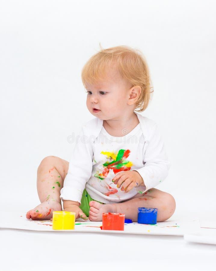 Cuadro del gráfico del bebé con las pinturas fotografía de archivo