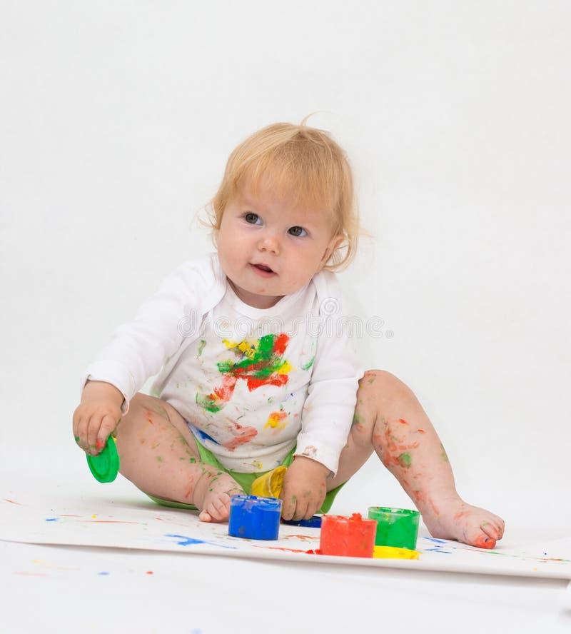 Cuadro del gráfico del bebé con las pinturas imagen de archivo libre de regalías