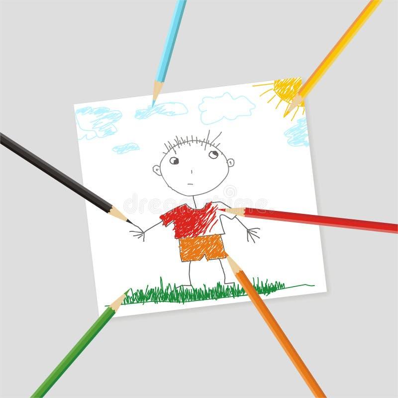 Cuadro del niño stock de ilustración
