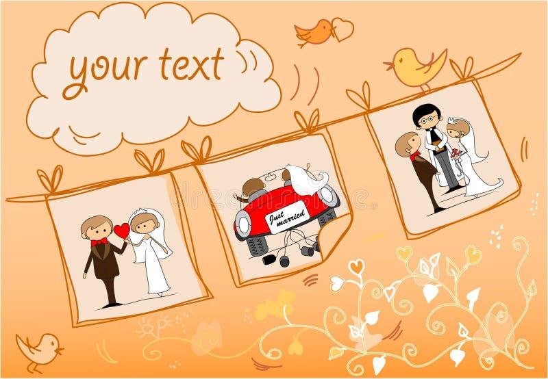 Cuadro, novia y novio de la boda en el amor, el vect ilustración del vector