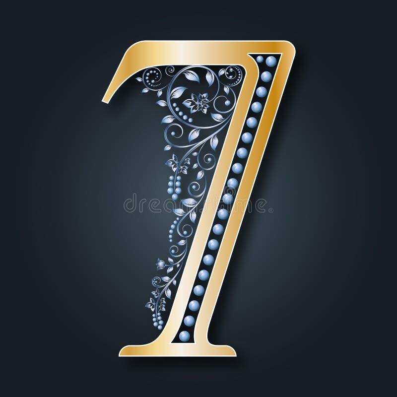 Cuadro ornamental 7 Ejemplo de números florales Oro y plata monograma Modelo de la vendimia stock de ilustración