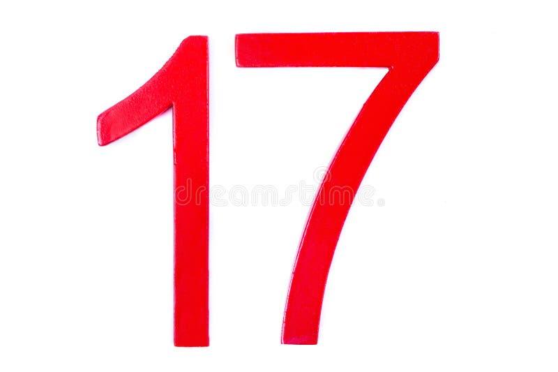Cuadro rojo diecisiete en el fondo blanco imagen de archivo