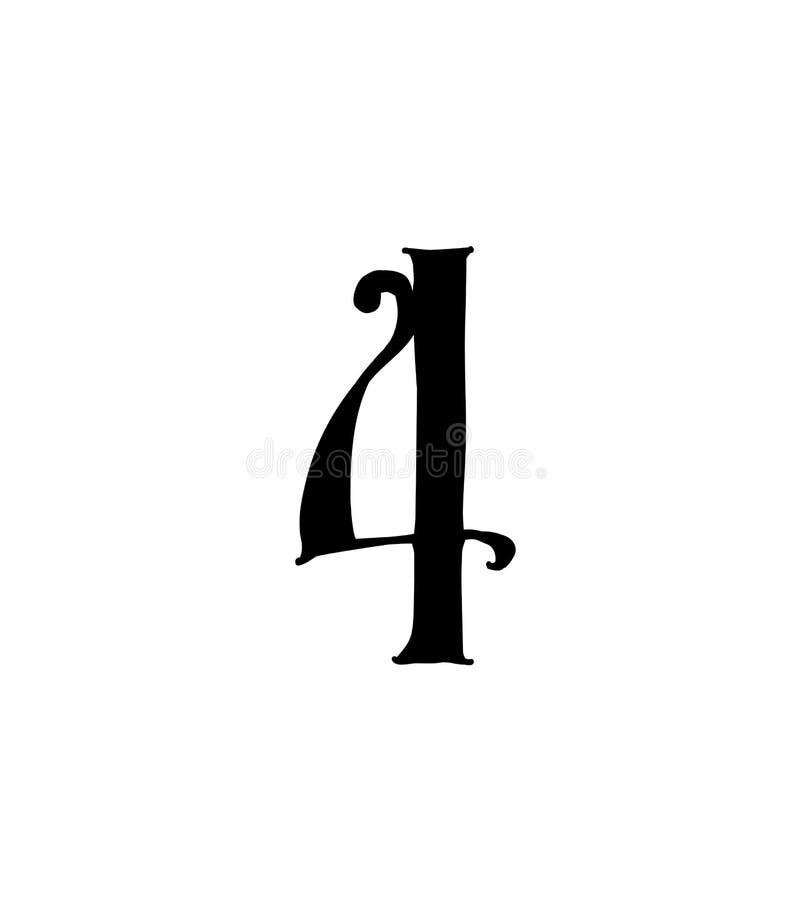 Cuadro 4 Vector logotipo para la compa??a Icono para el sitio Número separado del alfabeto ruso S antiguo neo-ruso gótico libre illustration