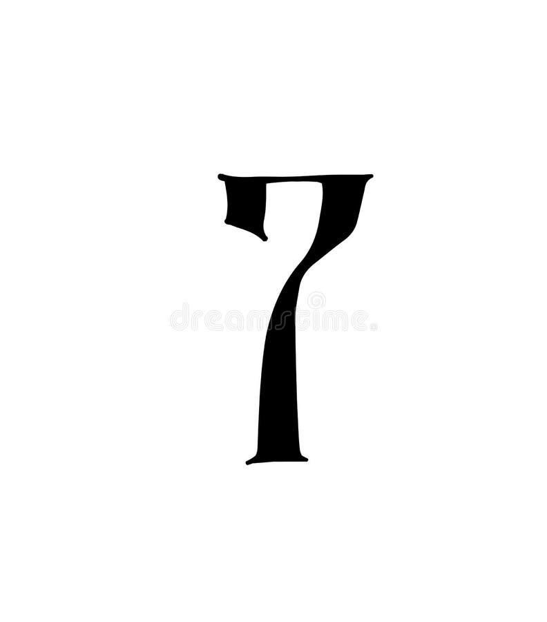 Cuadro 7 Vector logotipo para la compa??a Icono para el sitio Número separado del alfabeto ruso S antiguo neo-ruso gótico ilustración del vector