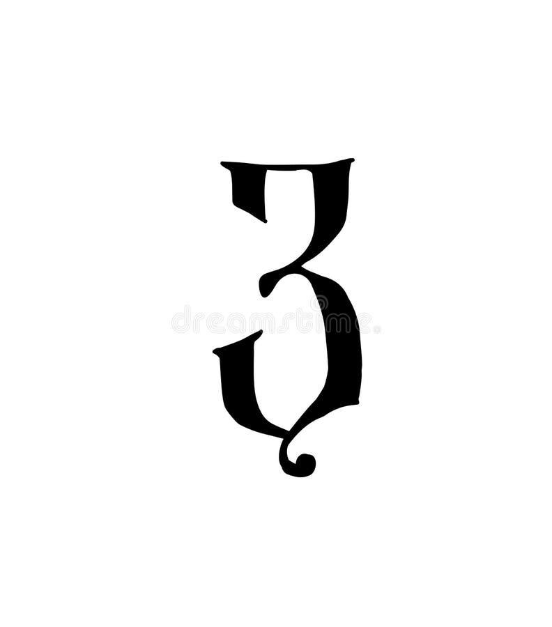 Cuadro 3 Vector logotipo para la compa??a Icono para el sitio Número separado del alfabeto ruso S antiguo neo-ruso gótico ilustración del vector