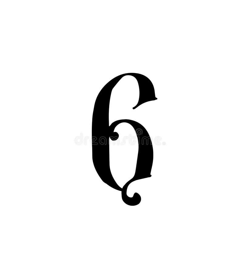 Cuadro 6 Vector logotipo para la compa??a Icono para el sitio Número separado del alfabeto ruso S antiguo neo-ruso gótico ilustración del vector