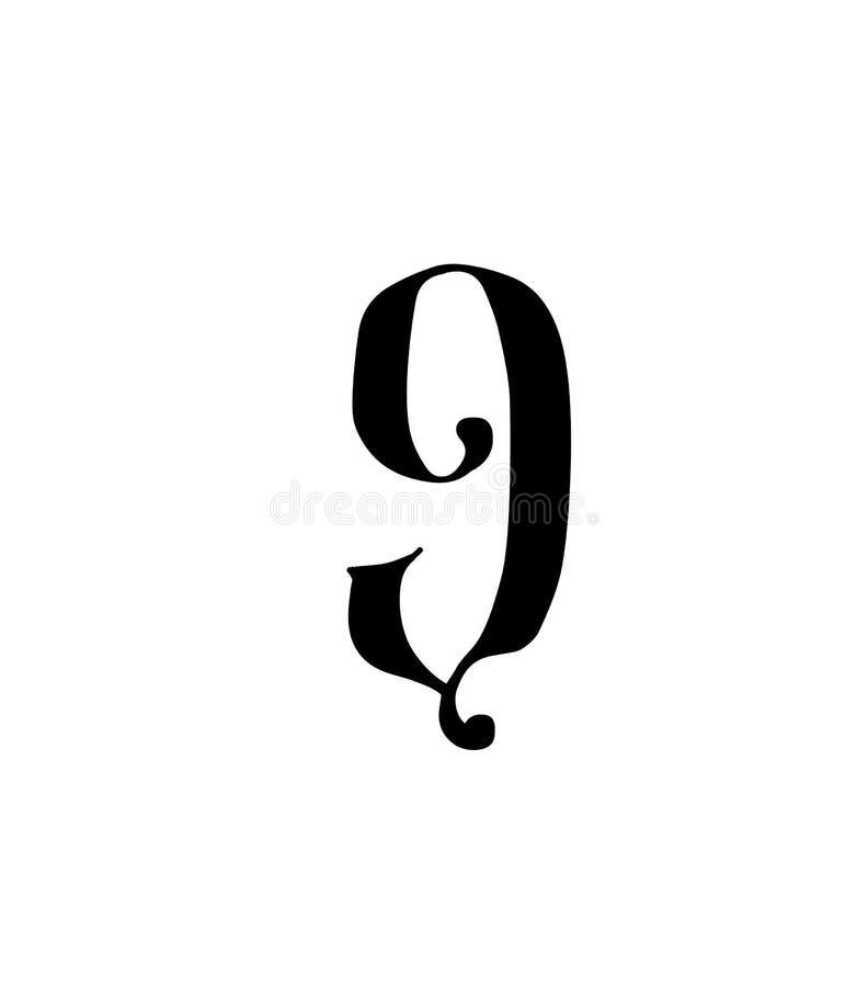 Cuadro 9 Vector logotipo para la compa??a Icono para el sitio Número separado del alfabeto ruso S antiguo neo-ruso gótico ilustración del vector