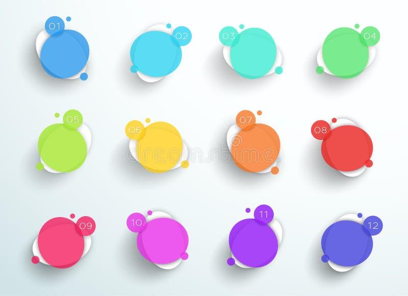 Cuadros de texto coloridos abstractos numerados 1 a del círculo vector 12 libre illustration
