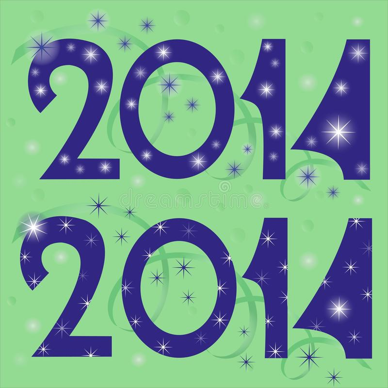Cuadros 2014 Feliz Año Nuevo ilustración del vector