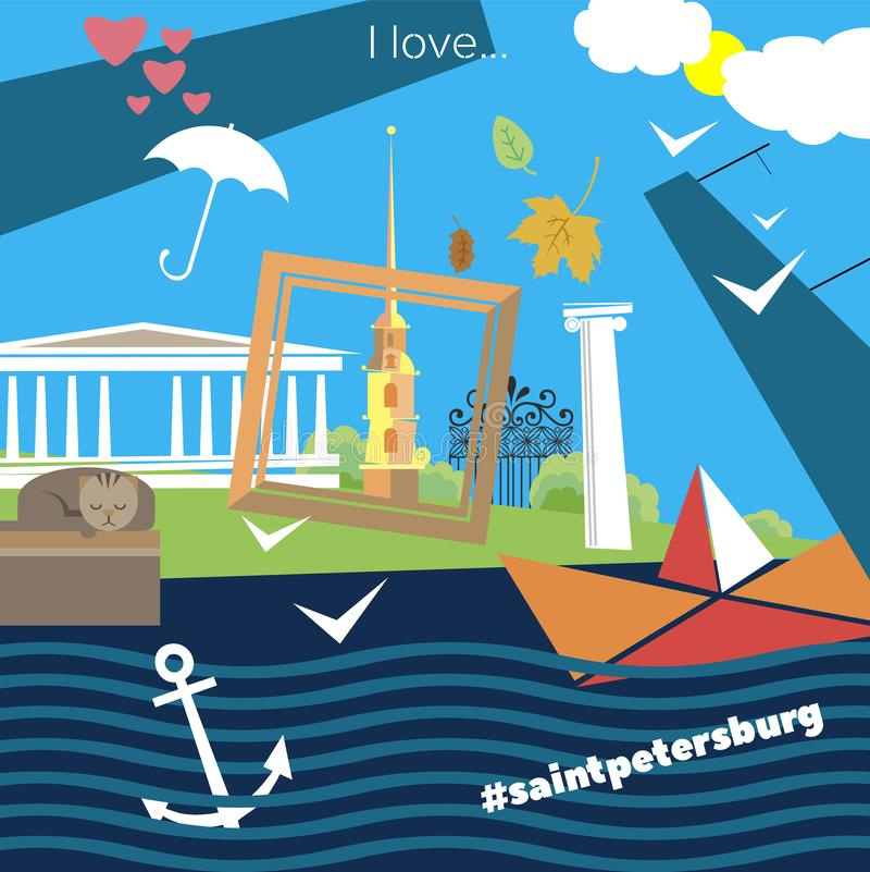 Cualidades de St Petersburg stock de ilustración