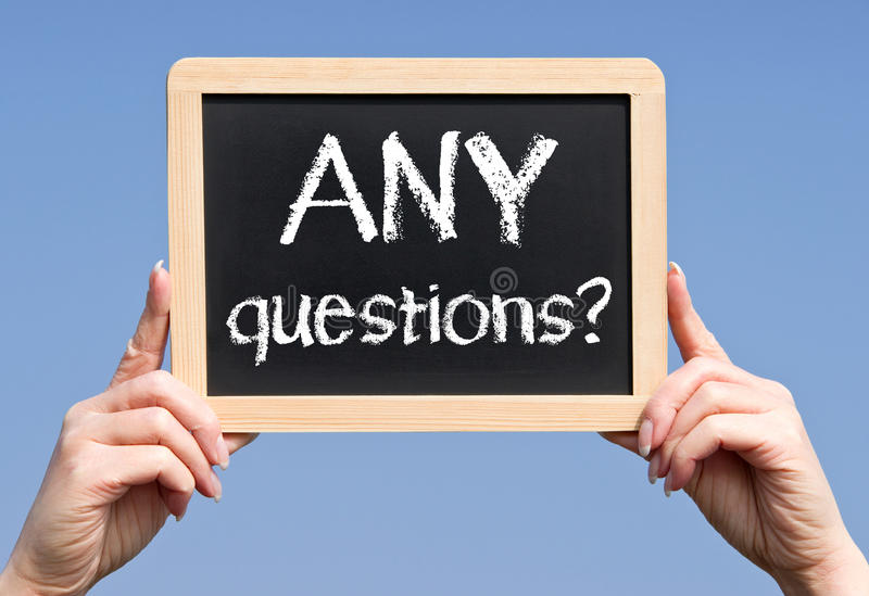 Cualquier muestra de las preguntas fotografía de archivo libre de regalías