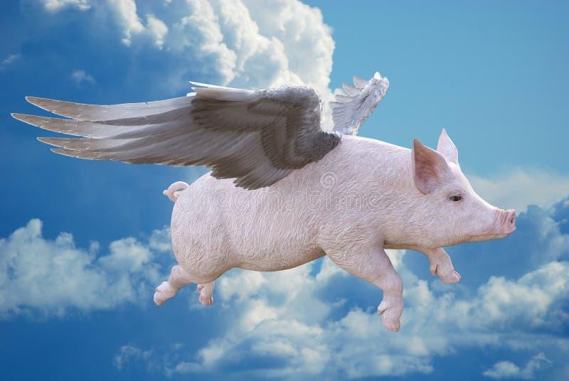 Cuando los cerdos vuelan, volando el cerdo ilustración del vector