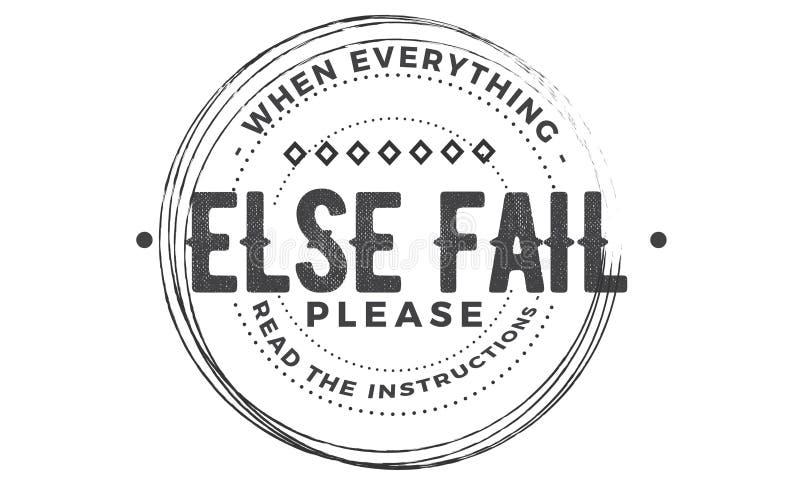 Cuando todo lo demás falla por favor lea las instrucciones stock de ilustración