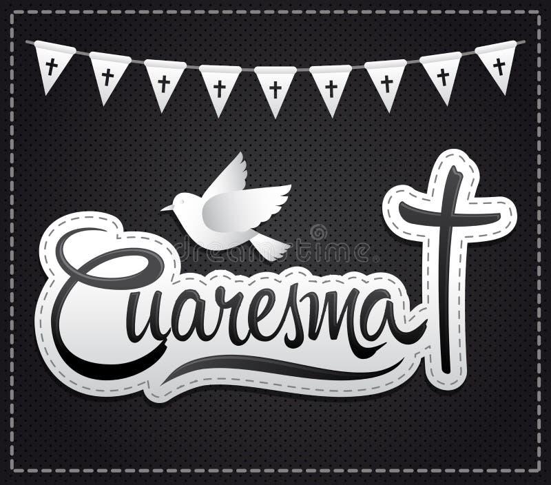 Cuaresma, traduction espagnole : Prêté, lettrage de vecteur illustration libre de droits