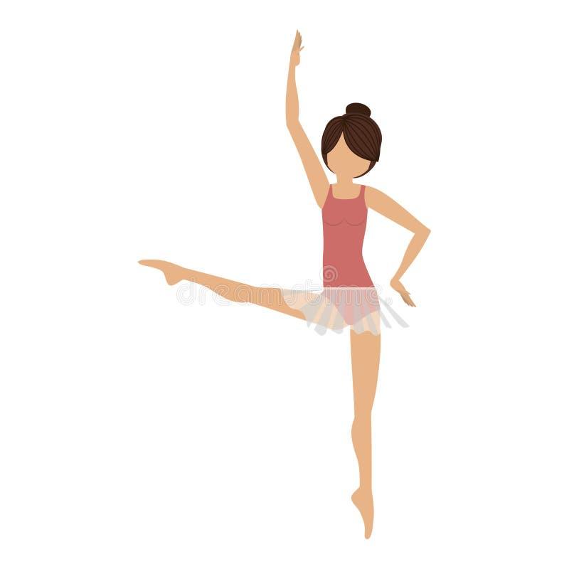 Cuarta posición del bailarín colorido desarrollada ilustración del vector