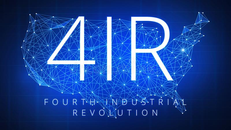 Cuarta Revolución industrial en mapa de los E.E.U.U. del polígono del blockchain libre illustration