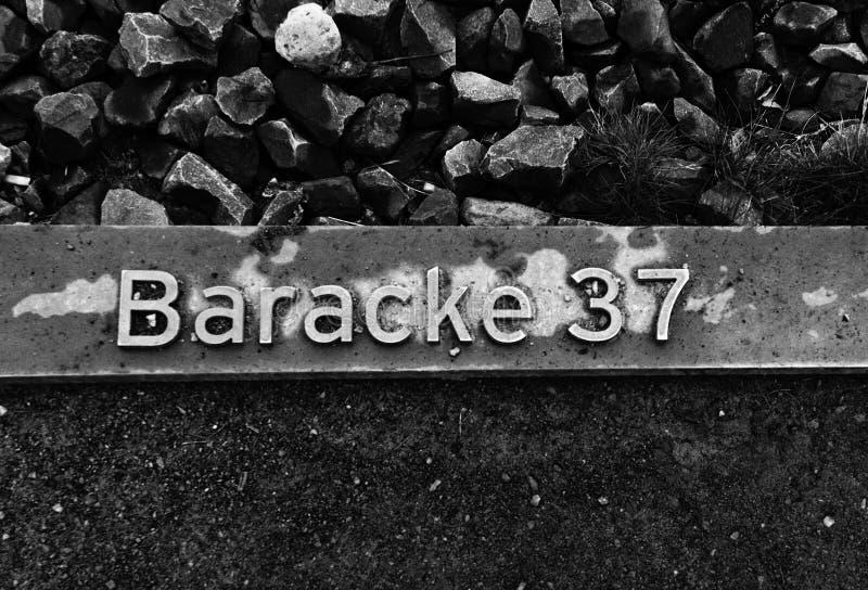 Cuartel 37, campo del letrero de concentración de Sachsenhausen, Berlín foto de archivo libre de regalías