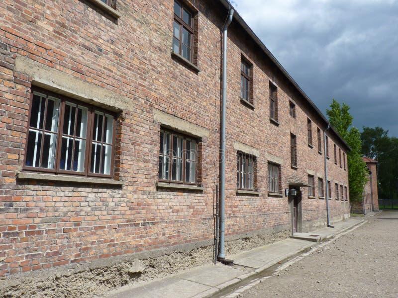 Cuarteles del ladrillo en el campo de concentración anterior fotos de archivo libres de regalías