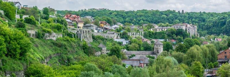 Cuarteles y defensas medievales Panorama imagen de archivo libre de regalías