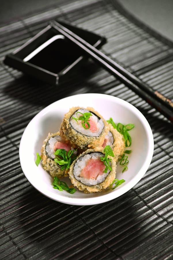 Cuarteto frito del sushi fotografía de archivo libre de regalías