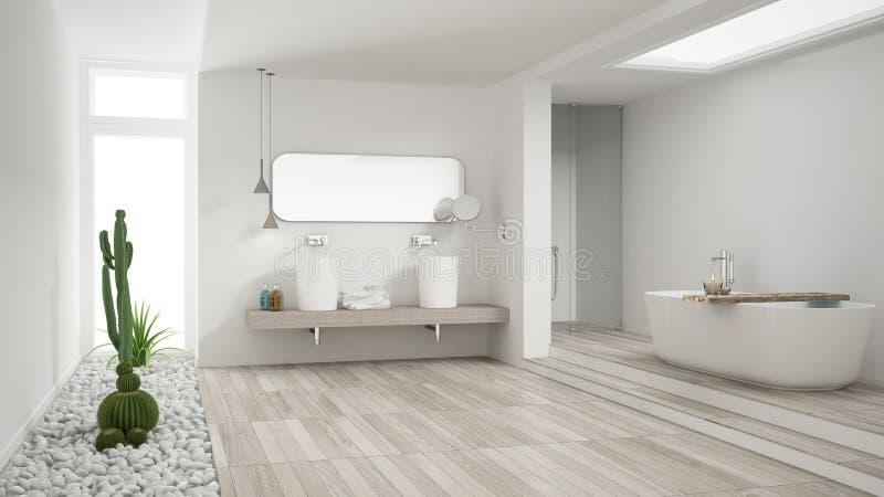 Cuarto de baño blanco minimalista con el jardín suculento, piso de madera imagen de archivo libre de regalías