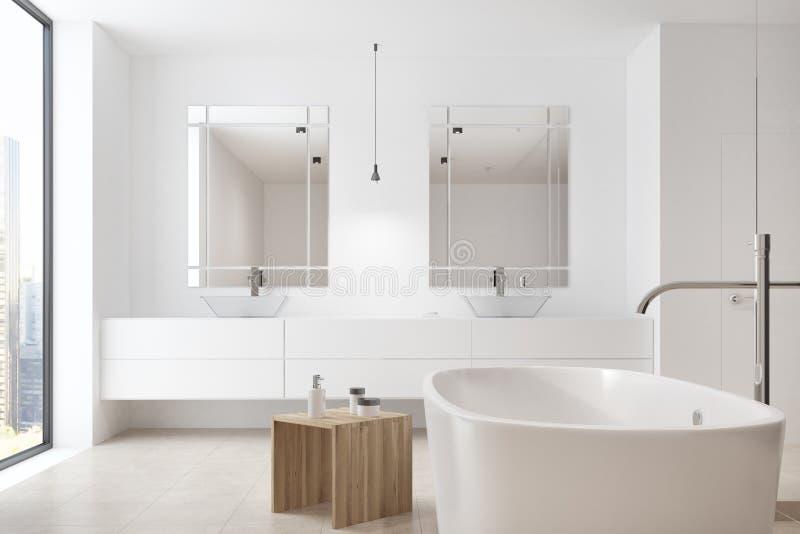 Cuarto de baño blanco, tina, fregadero doble ilustración del vector