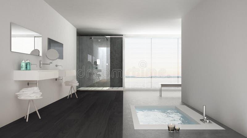 Cuarto de ba o blanco y gris minimalista con la tina de for Cuarto gris con blanco