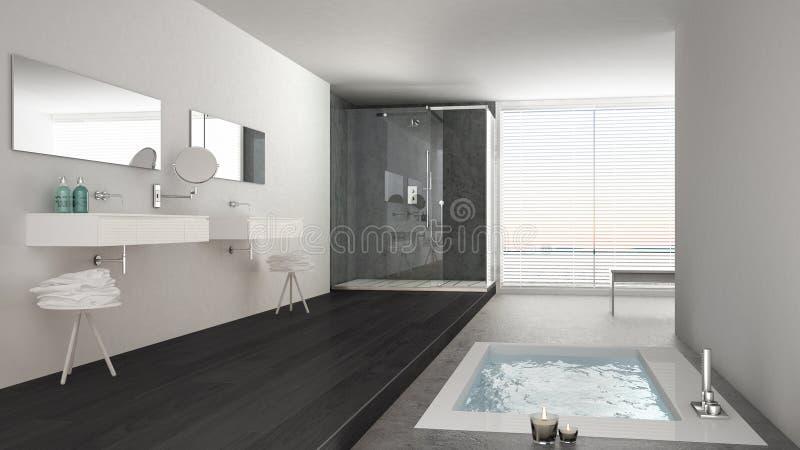 Cuarto de ba o blanco y gris minimalista con la tina de for Cuartos de bano en blanco y gris